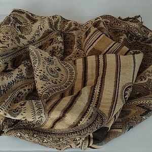 Brown tones Pashmina and Silk Scarf with fringe